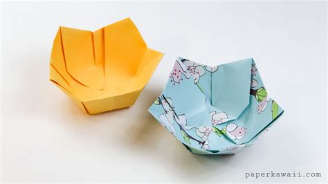 Origami Dish - origami flower bowl tutorial paper kawaii