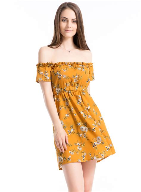 Shoulder Floral Minidress s shoulder slash neck floral print mini dress