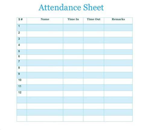 free printable attendance sheet sles vatansun