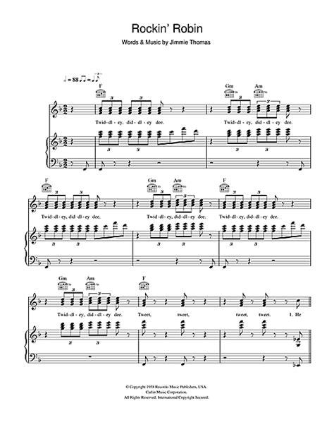 printable lyrics to rockin robin rockin robin sheet music by michael jackson piano vocal