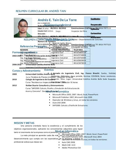 Plantilla De Resumen Curricular Resumen Curricular Br Andres Tain