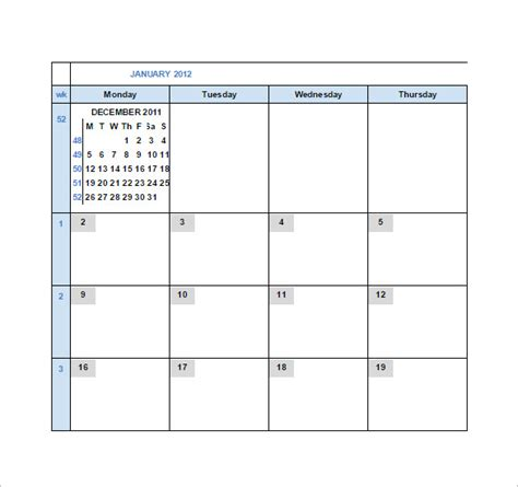 Calendar Template Google Sheets