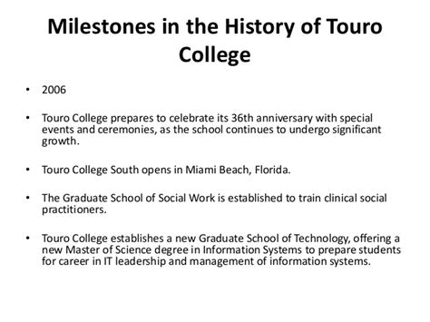 Touro College Mba Program by History Of Touro College