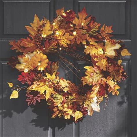 Lighted Fall Wreath From Through The Country Door Nw725586 Lighted Door Wreaths For