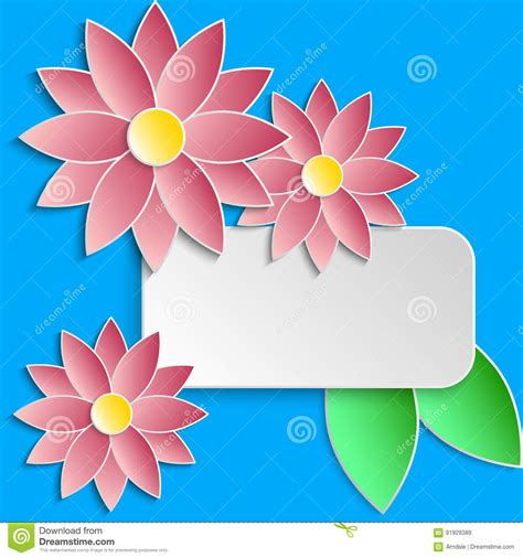 Greeting Card Template With Paper Flowers Royalty Free Cartoon Cartoondealer Com 91929389 Paper Water Template