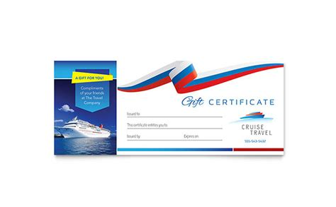 Cruise Travel Gift Certificate Template   Word & Publisher