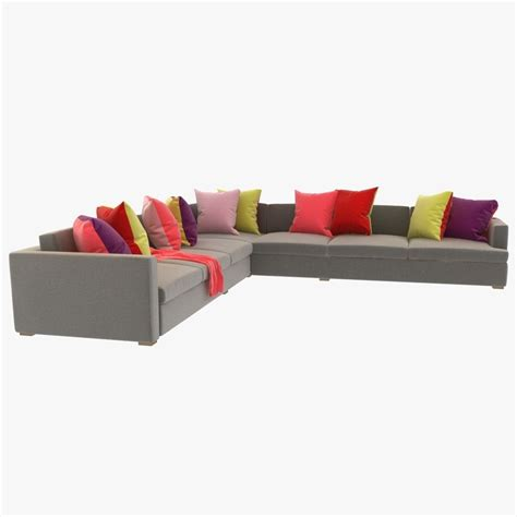 sectional sofa pillows great room sectional sofa with pillows 3d model max obj