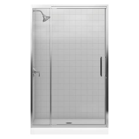 48 Pivot Shower Door Kohler Lattis 48 In X 76 In Framed Pivot Shower Door In Bright Silver K 705808 L Sh The Home