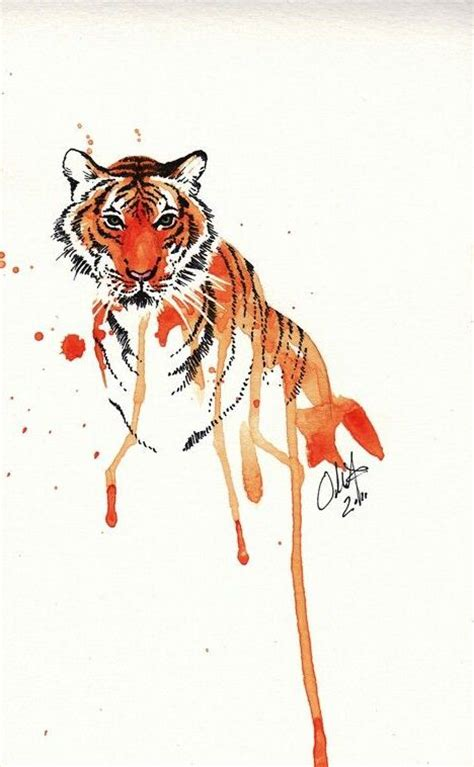 watercolor tattoo orange county orange watercolor tiger portrait design