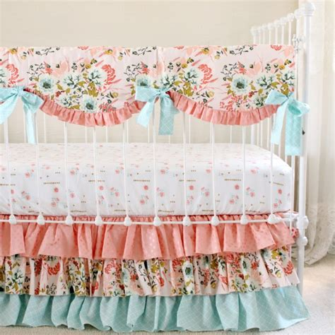 blush baby bedding blush pink floral blended bumperless baby bedding lottie