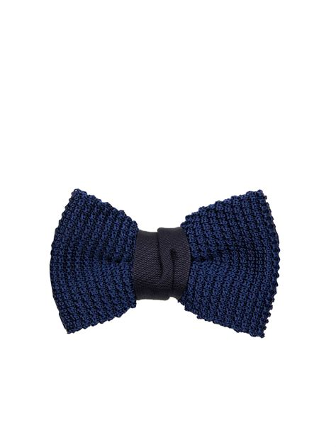 knitted silk bow tie lanvin knitted silk bow tie in blue for lyst