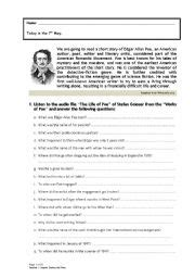 edgar allan poe biography handout collection of edgar allan poe worksheets bluegreenish