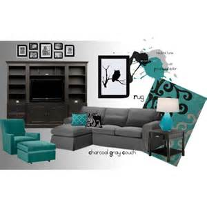 teal black and white living room polyvore
