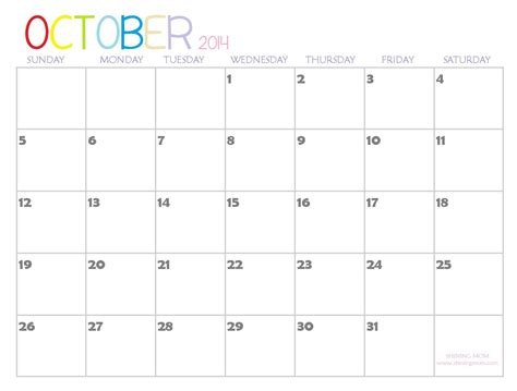 6 best images of blank october 2014 calendar printable