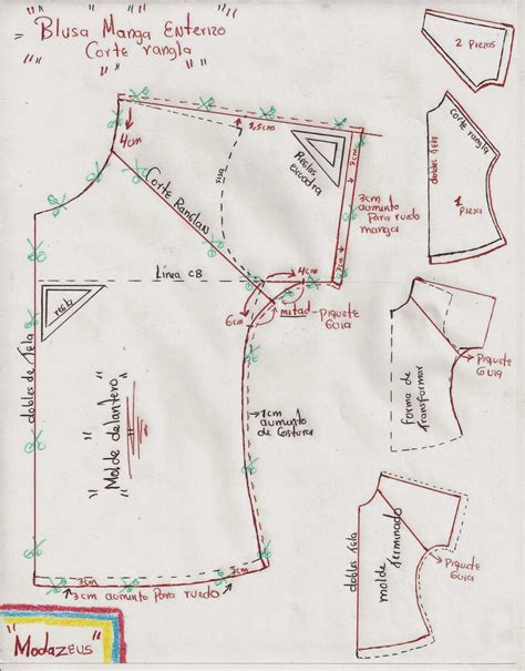 pattern drafting notes raglan blouse note the middle of the front and the