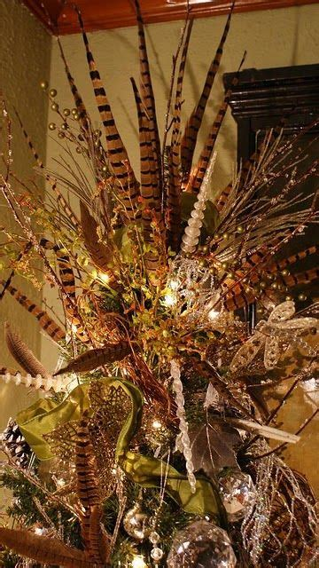 pheasant feather tree topper christmas ideas pinterest