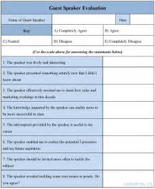guest speaker evaluation form sle guest speaker