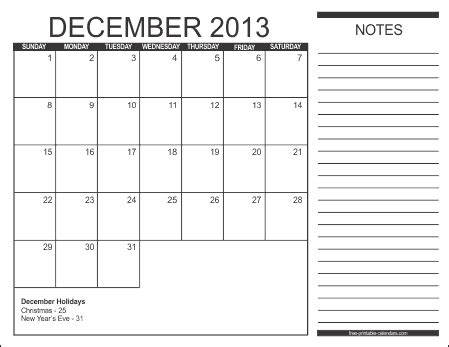free printable december 2013 calendar with holidays 2013 free printable calendars free printable calendars