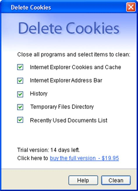 sreenshot delete cookies 1.2 | temporary internet cleaner
