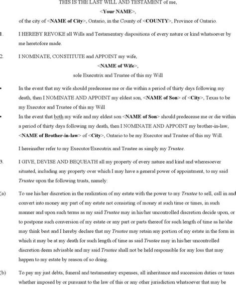 Last Will And Testament Template Ontario ontario last will and testament form free