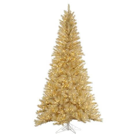 vickerman white gold tinsel pre lit christmas tree