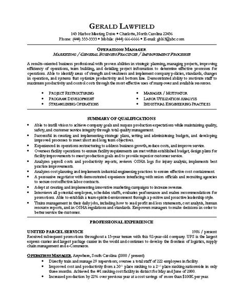 Operation Manager Resume by Sle Resume For Operations Manager Resume Design And