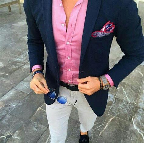 light pink blazer mens men wears navy blue jacket pink shirt light grey pants