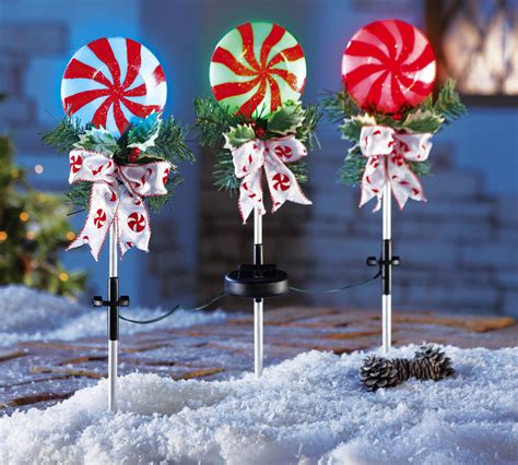 set of 3 peppermint holiday solar powered stake lights