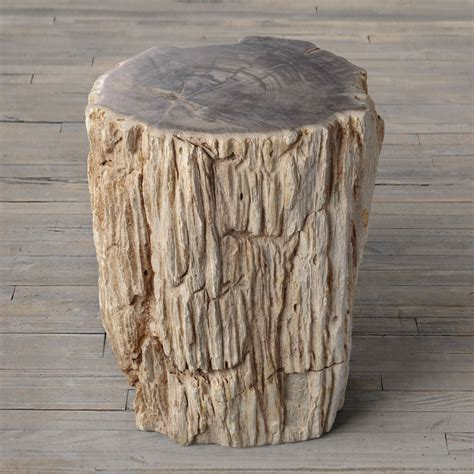 petrified wood stump end table the green