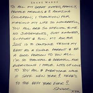 thank you letter to girlfriends shane warne pens letter spelling out hopes for 2015
