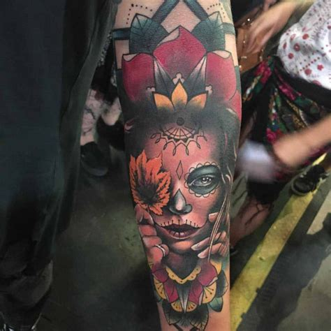 maple santa muerte tattoo on arm best tattoo ideas gallery