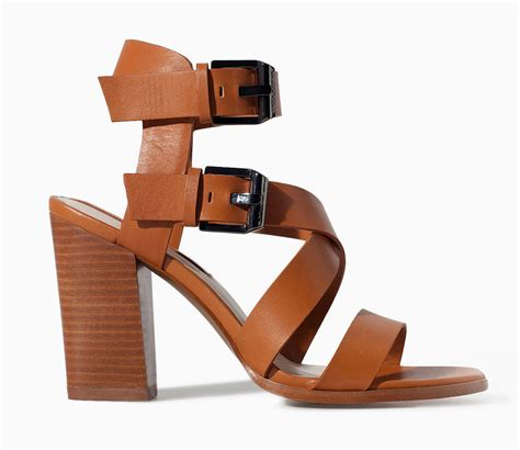 brown heeled sandals zara brown leather block heel sandals 119 12 shoes