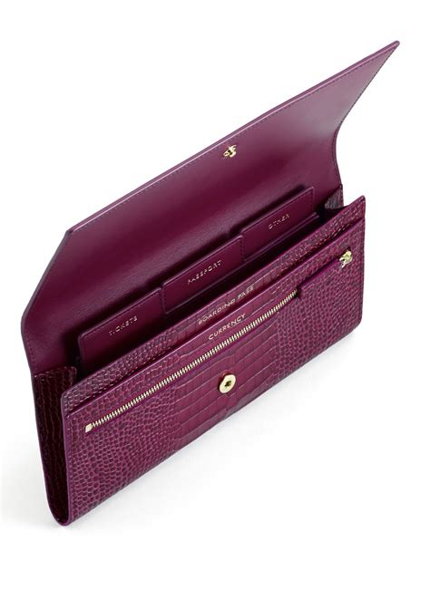 Purple Accessories Purple Wallets Purple Belts Purple Gloves And More by Lyst Smythson Mara Croc Embossed Leather Travel Wallet