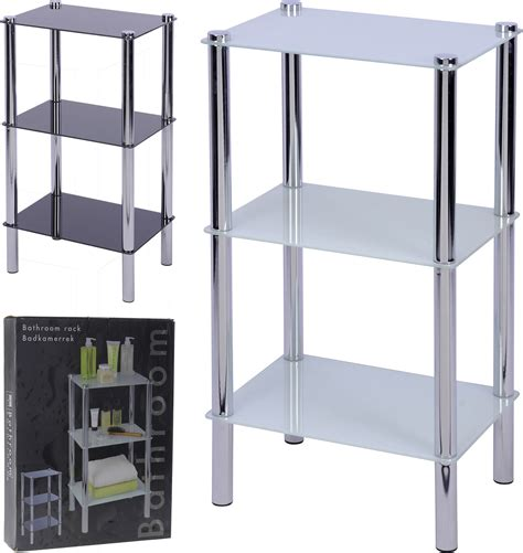 Bathroom Standing Shelves Bathroom Shelf Rack 3 Glass Sheets Corner Standing Shelves Black White Ebay
