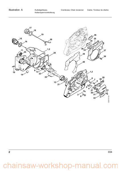 034 stihl chainsaw parts diagram stihl 034 parts list manual chainsaw workshop manuals