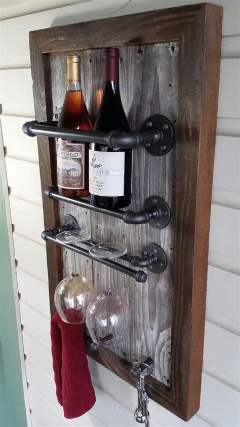 Recycled Wood Wine Rack by Wine Rack Reclaimed Wood Barn Wood Industrial Pipe