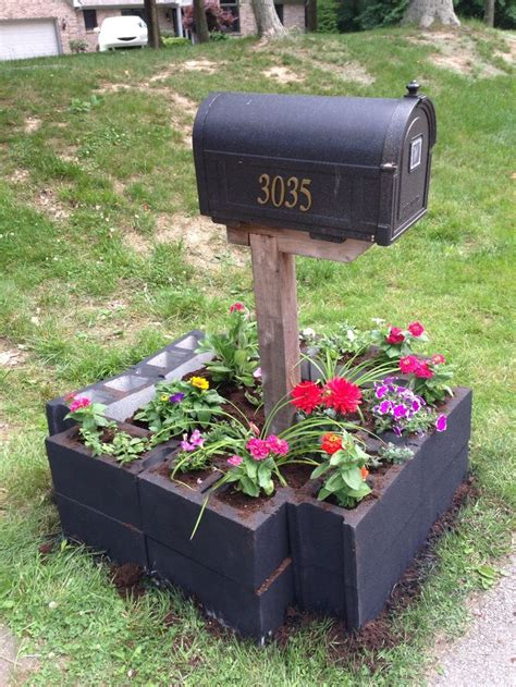 cinder block flower bed cement block raised flower bed cinder blocks mailboxes