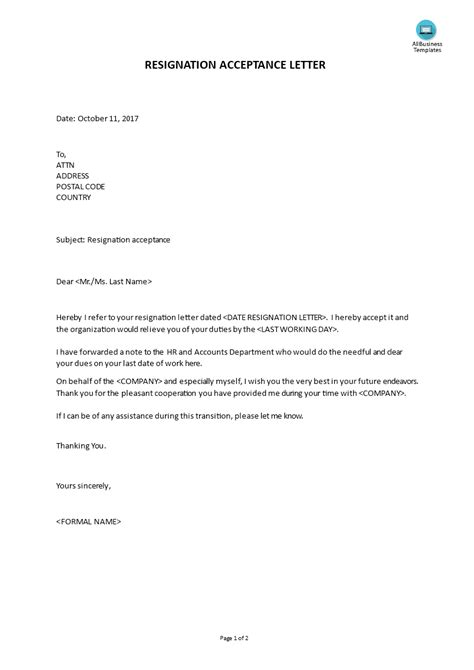 Resignation Approval Letter by Free Sle Resignation Acceptance Letter Templates At Allbusinesstemplates