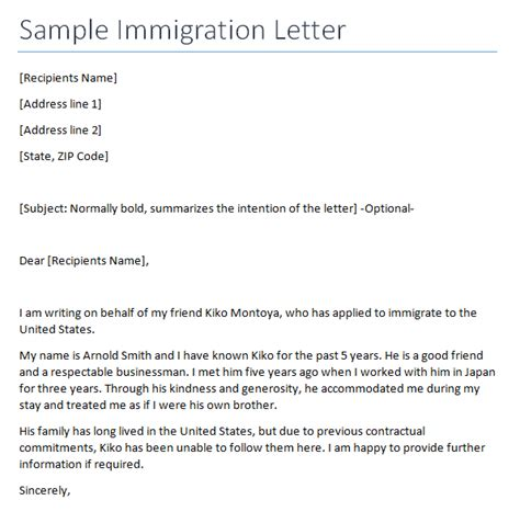 Writing Reference Letter For Immigration immigration letter writing professional letters