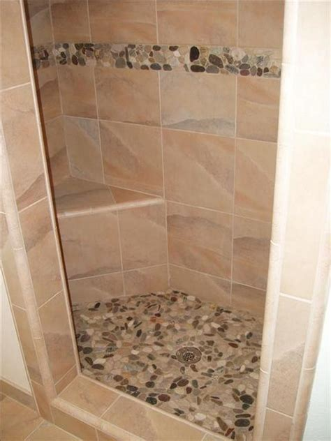 river stone bathroom river stone shower floor and accent home ideas