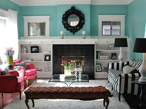 turquoise black and white living room how to build bookshelves around a fireplace hgtv