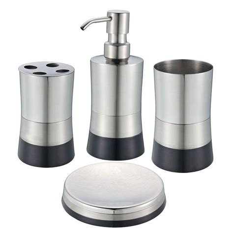 glacier bay builders 3 piece bath accessory kit in brushed