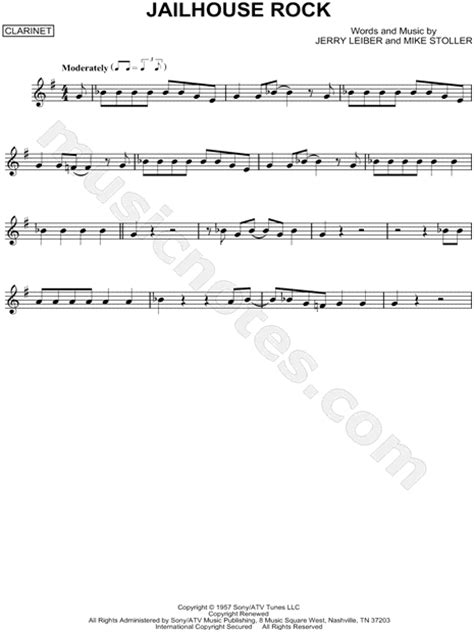 printable lyrics to jailhouse rock elvis presley quot jailhouse rock quot sheet music clarinet solo