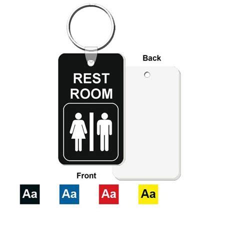 Restroom Bathroom Key Tag Engraved Mini 1 3 4 Inch X 3 Inch