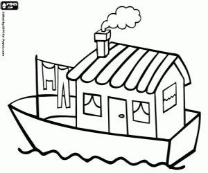 coloring page house boat boats and other watercrafts coloring pages printable games