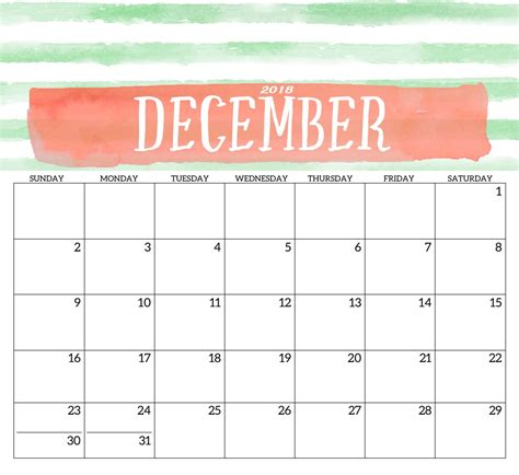 2018 Monthly Printable Templates Calendar 2018 Calendar Template