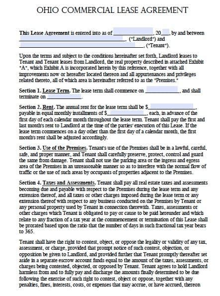 Free Ohio Commercial Lease Agreement Template Adobe Pdf Free Residential Lease Agreement Template Ohio