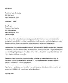 Contract Termination Letter Reply Sle Contract Termination Letter 8 Exles In Word Pdf