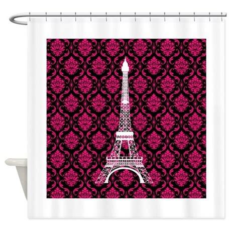 dark pink shower curtain pink white and black eiffel tower shower curtain by