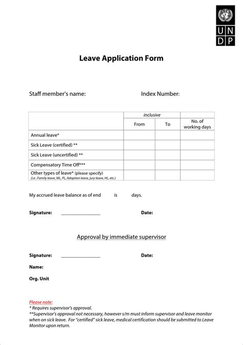 template for leave application form application for leave free premium templates